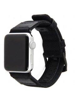 123Watches.nl 42mm Apple Watch zwart nylon military bandje