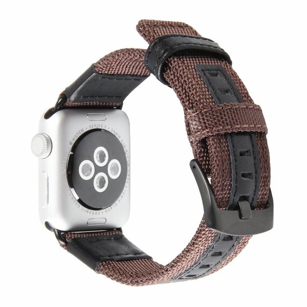 123Watches.nl Apple watch nylon military band - bruin