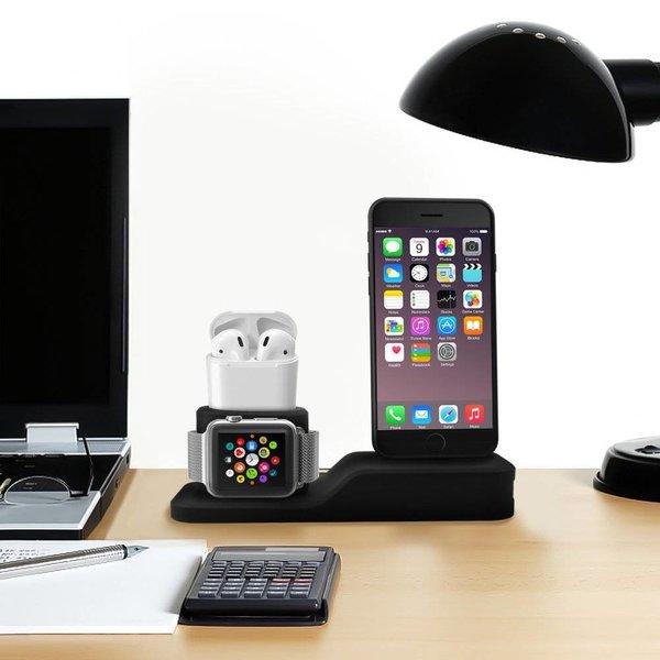 123Watches Apple watch silicone 3 in 1 dock -zwart