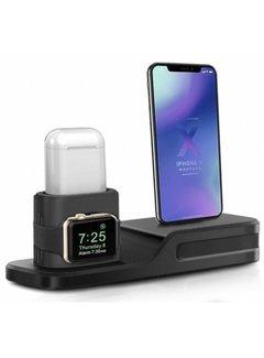 123Watches.nl Apple watch silicone 3 in 1 dock - zwart