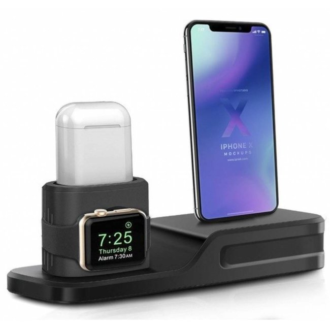 123Watches Apple watch silicone 3 in 1 dock - black