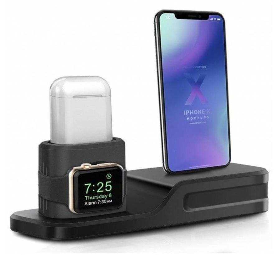Apple watch silicone 3 in 1 dock - black