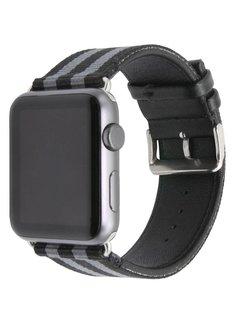 123Watches.nl Apple watch nylon double face band - zwart grijs