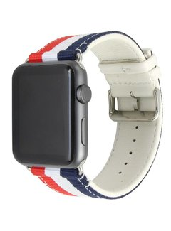 123Watches.nl 42mm Apple Watch rood wit blauw nylon double face bandje
