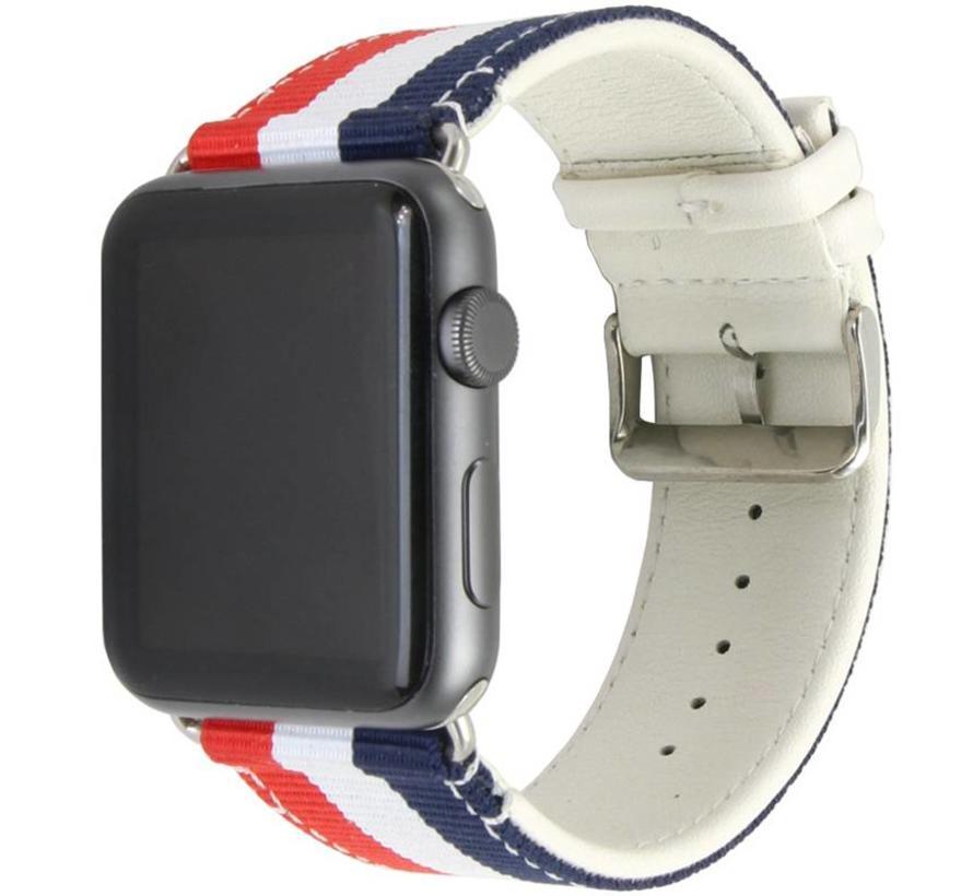 42mm Apple Watch rood wit blauw nylon double face bandje