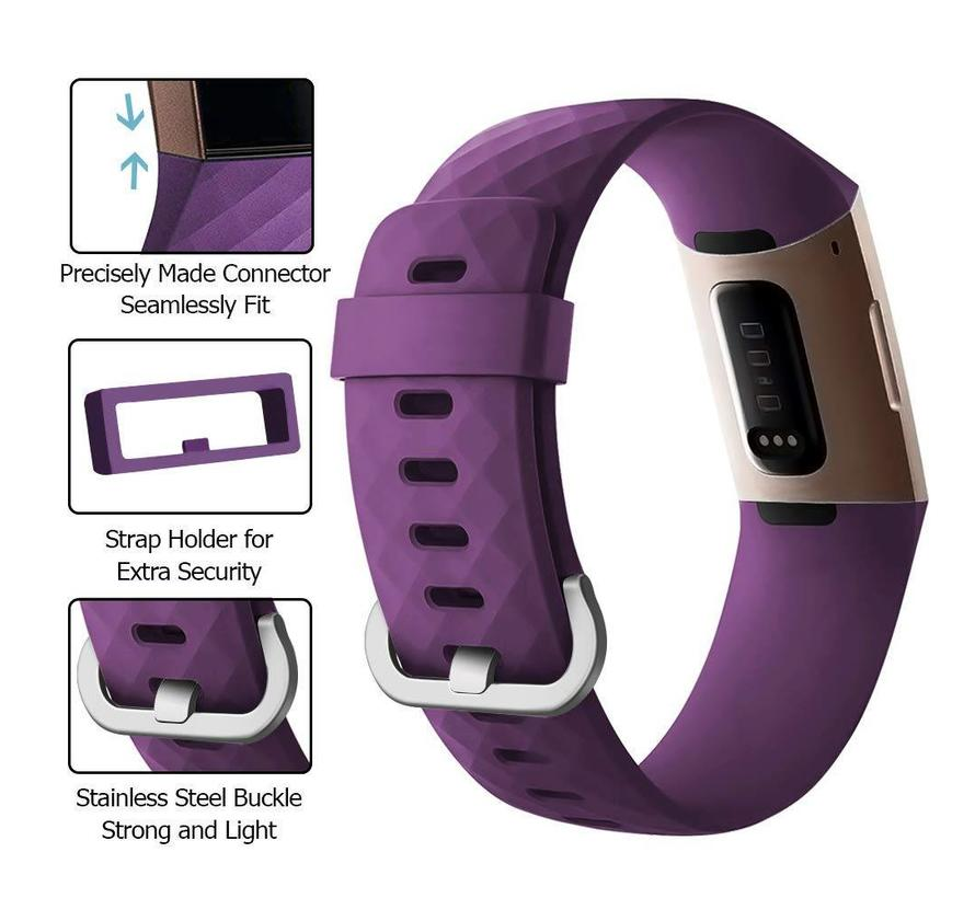 Fitbit charge 3 sport wafel band - donkerpaars