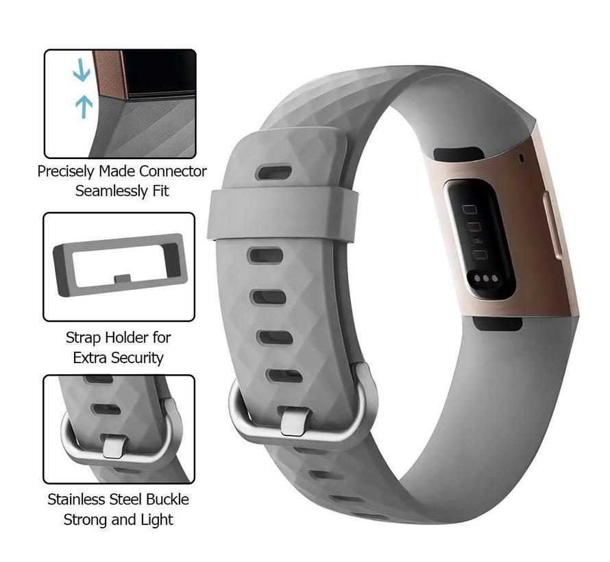 Fitbit charge 3 sport wafel band - grijs