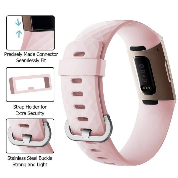 123Watches Fitbit charge 3 & 4 sport waffle band - pink