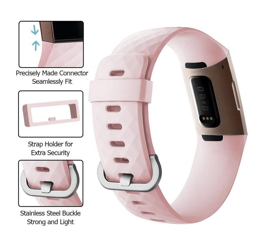 Fitbit charge 3 sport wafel band - roze
