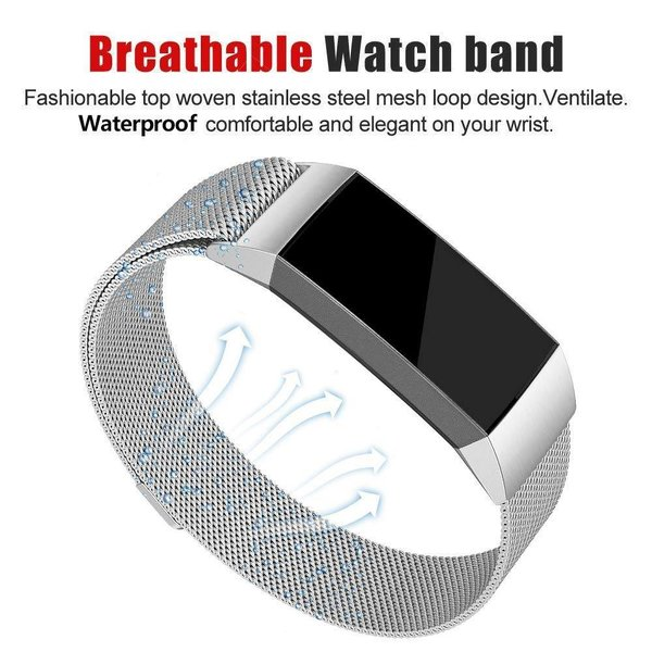 123Watches.nl Fitbit charge 3 milanese band - silver