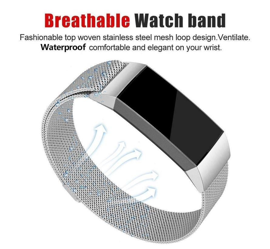 Fitbit charge 3 milanese band - silver
