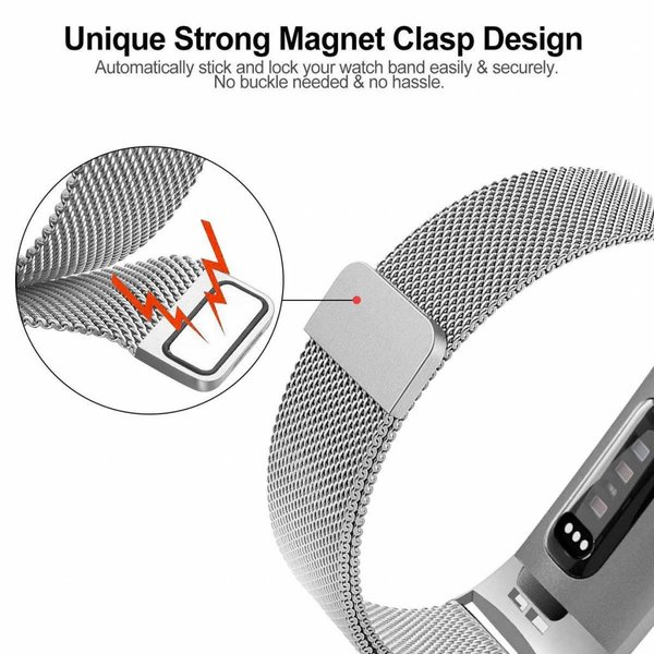123Watches Fitbit charge 3 & 4 milanais band - d'argent