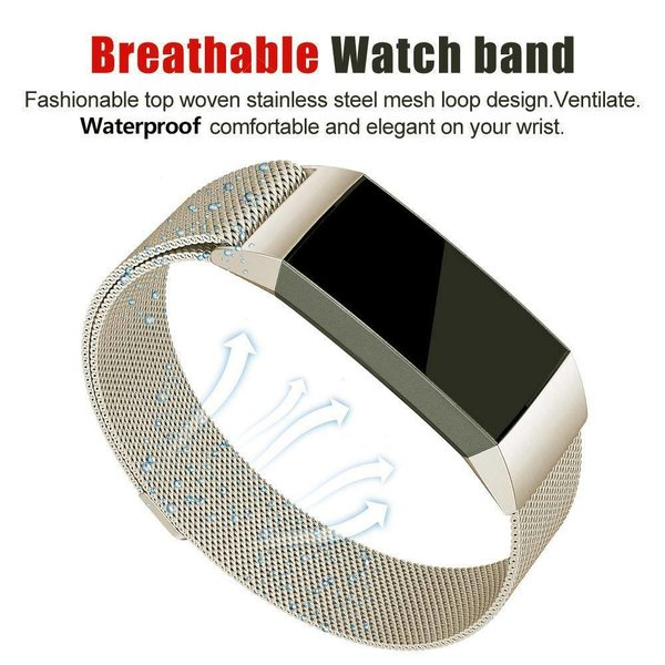 123Watches Fitbit charge 3 & 4 milanese band - champagne