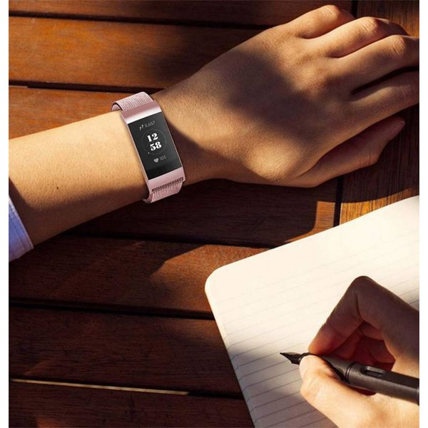 Fitbit charge 3 milanese band - pink