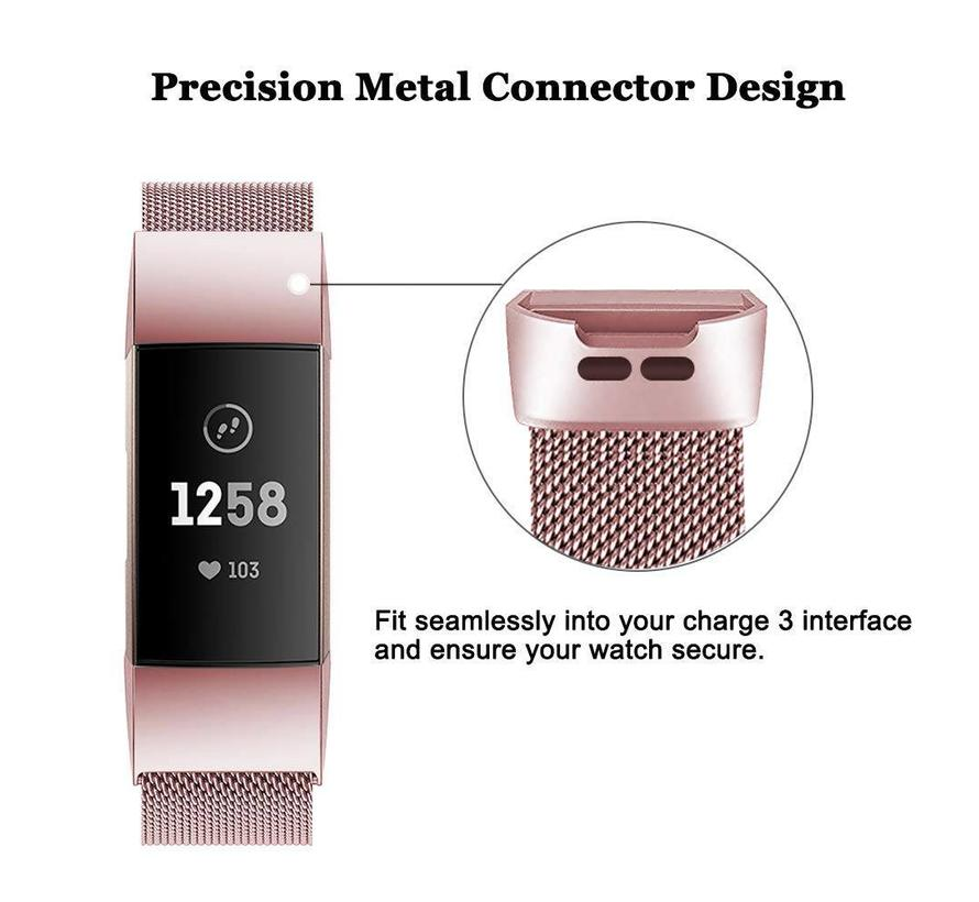 Fitbit charge 3 milanese band - roze