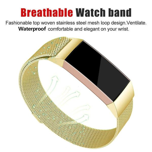 123Watches Fitbit charge 3 & 4 milanese band - goud
