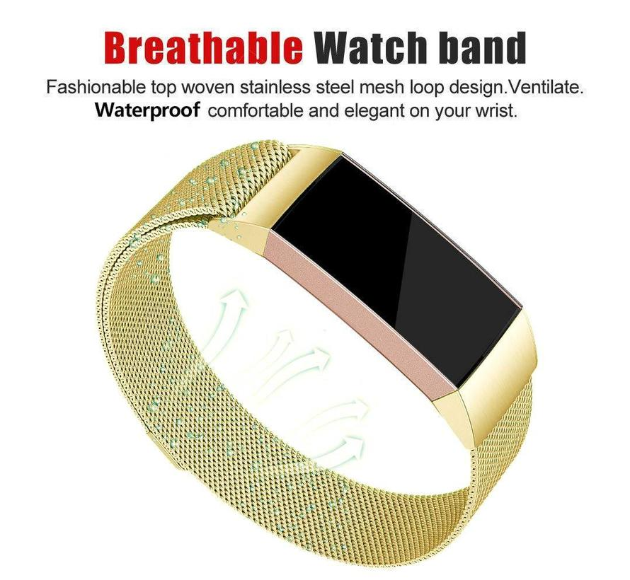 Fitbit charge 3 milanese band - goud