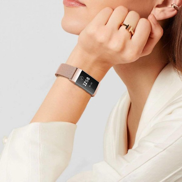 123Watches.nl Fitbit charge 3 milanais band - or rose