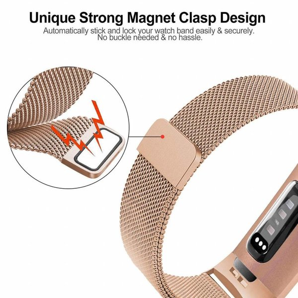 123Watches.nl Fitbit charge 3 milanese band - rose gold