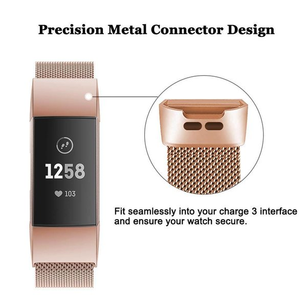 123Watches Fitbit charge 3 & 4 milanais band - or rose