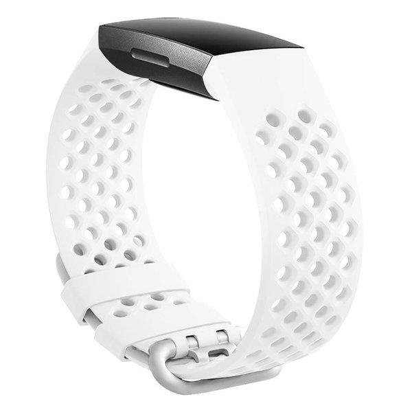 123Watches Fitbit charge 3 & 4 bande de points de sport - blanc