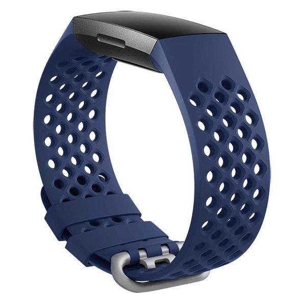 123Watches Fitbit charge 3 & 4 bande de points de sport - bleu foncé