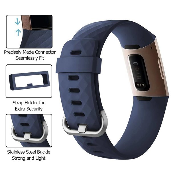 123Watches Fitbit charge 3 & 4 sport wafel band - donkerblauw