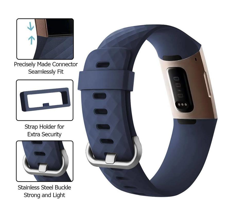 Fitbit charge 3 sport wafel band - donkerblauw