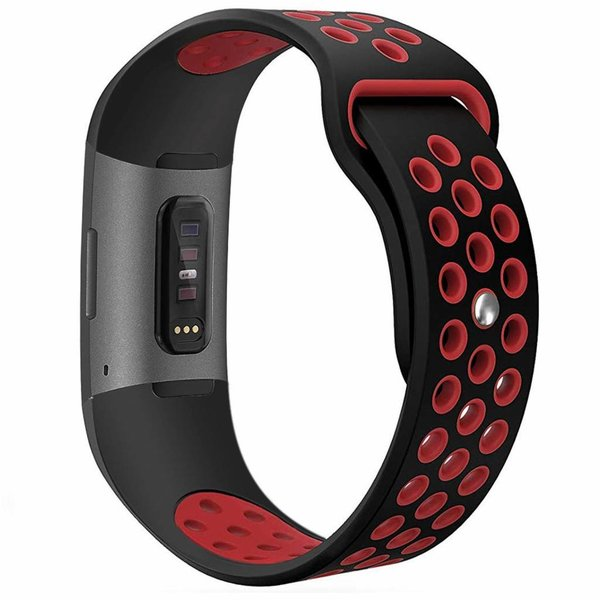 123Watches Fitbit charge 3 & 4 sport band - zwart rood