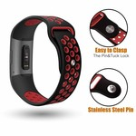 123Watches Fitbit charge 3 & 4 bracelet sportif  - noir rouge