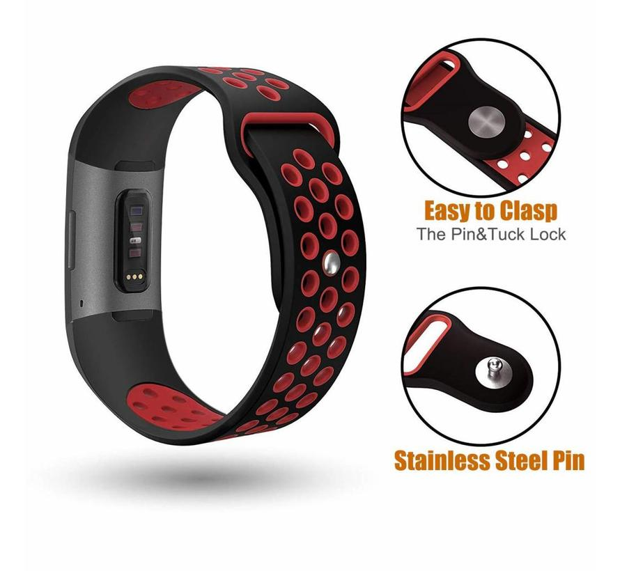 Fitbit charge 3 sport band - zwart rood