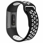 123Watches Fitbit charge 3 & 4 sport band - zwart wit
