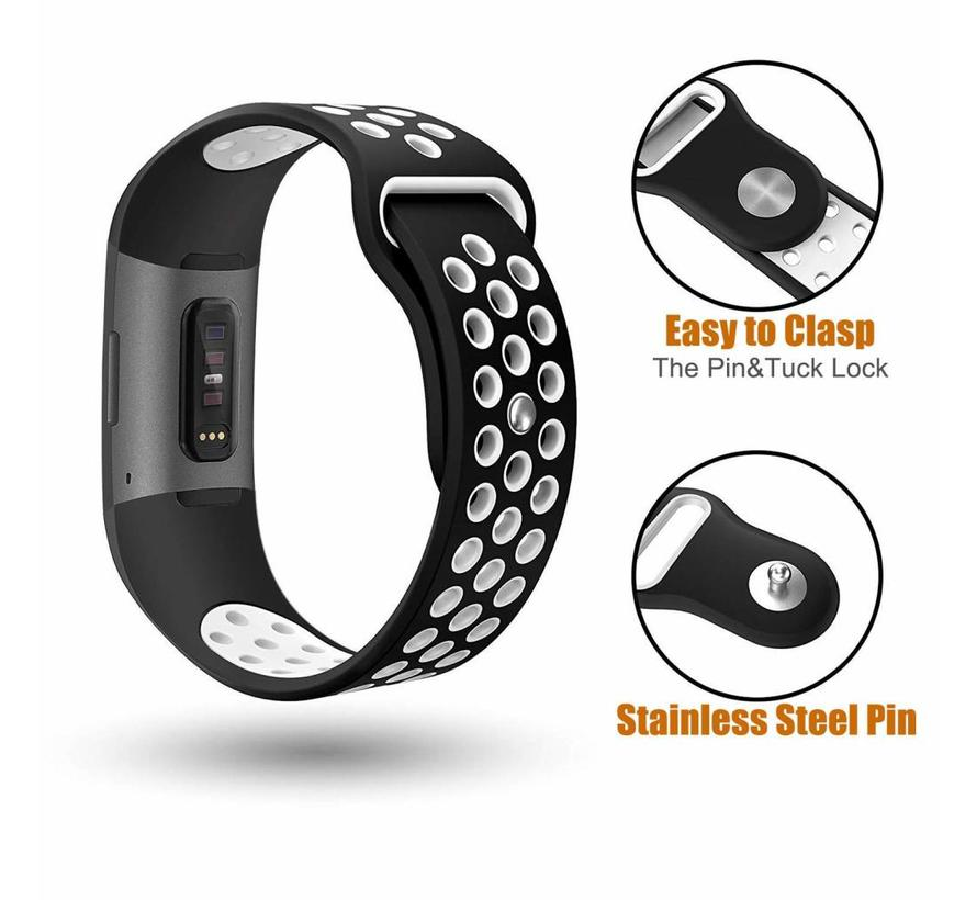Fitbit charge 3 sport band - zwart wit