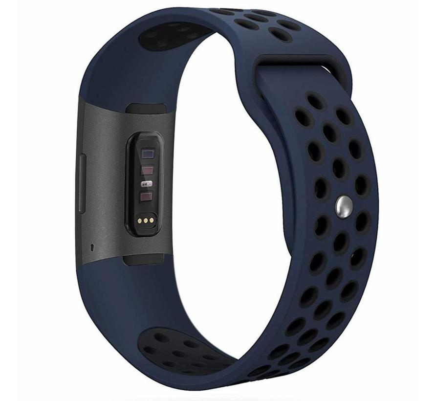 Fitbit charge 3 sport band - donkerblauw zwart