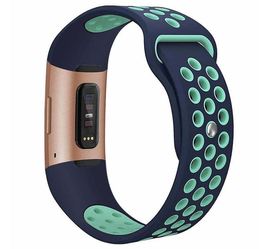 Fitbit charge 3 sport band - donkerblauw lichtblauw