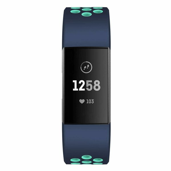 123Watches Fitbit charge 3 & 4 sport band - donkerblauw lichtblauw