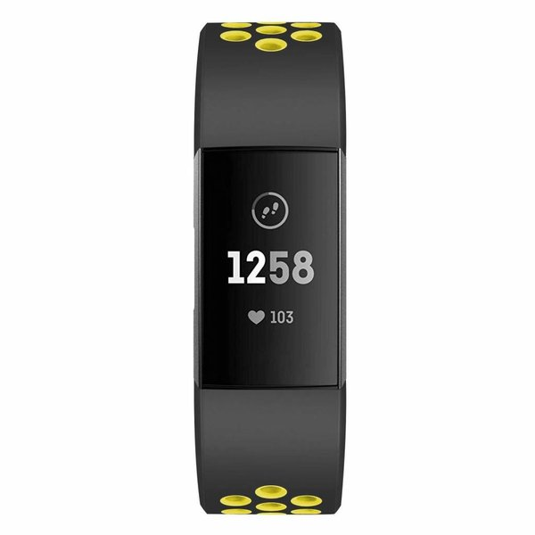 123Watches Fitbit charge 3 & 4 sport band - zwart geel