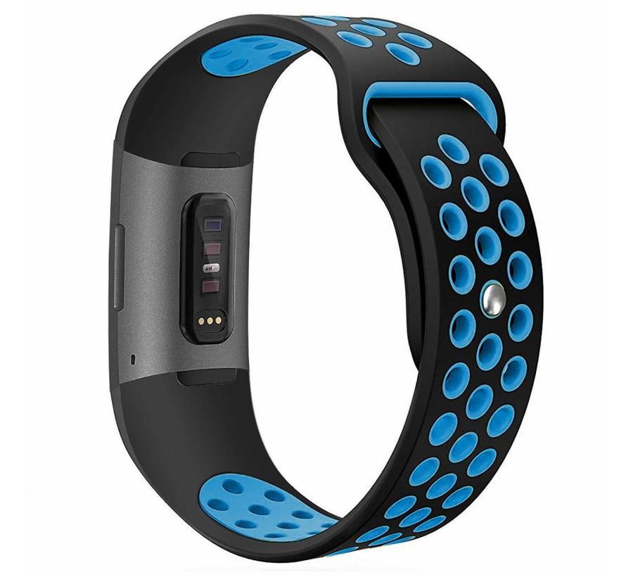Fitbit charge 3 sport band - zwart blauw