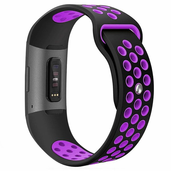 123Watches Fitbit charge 3 & 4 sport band - zwart paars