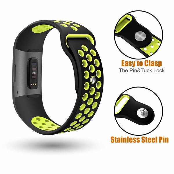 123Watches Fitbit charge 3 & 4 sport band - zwart groen