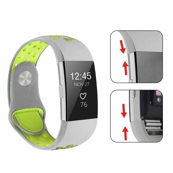 123Watches Fitbit charge 2 sport band - grijs geel