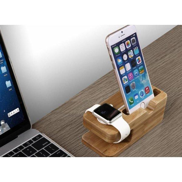 123Watches Apple Watch houten dock 2 in 1