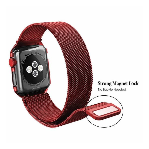 123Watches.nl Apple watch milanese case band - rot