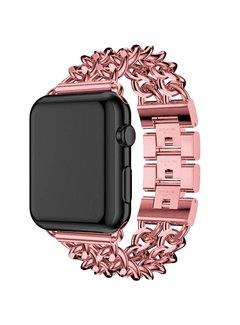 123Watches.nl Apple watch steel cowboy link band - rose red