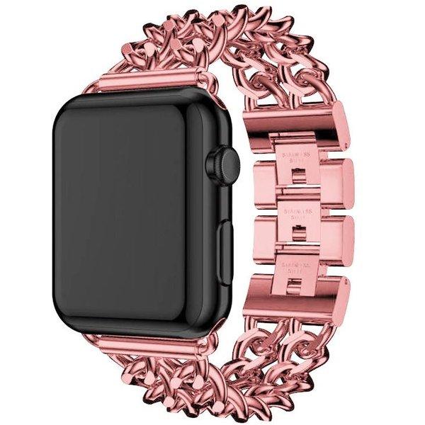 123Watches Apple watch stalen cowboy schakel band - rose rood