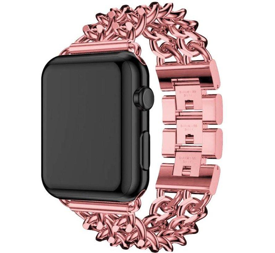 Apple watch stalen cowboy schakel band - rose rood