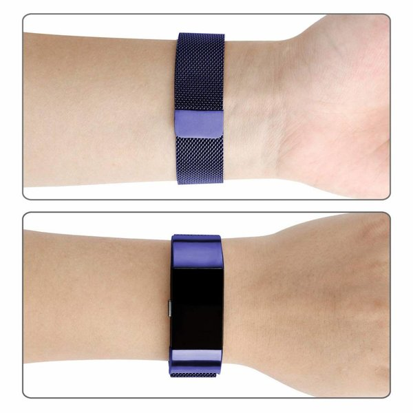 123Watches Fitbit charge 2 milanese band - blauw
