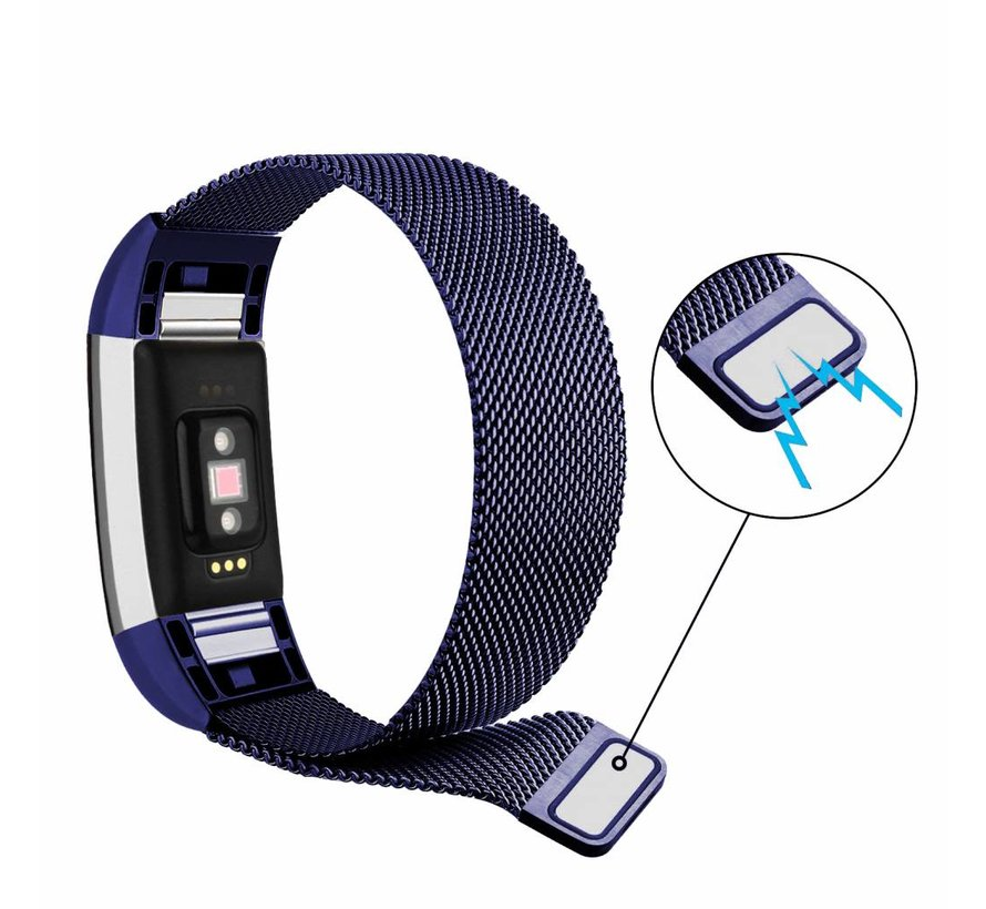 Fitbit charge 2 milanese band - blauw