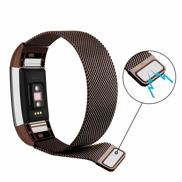123Watches Fitbit charge 2 milanese band - bruin
