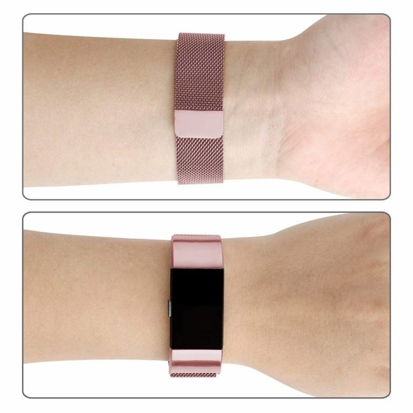 123Watches Fitbit charge 2 milanese band - roze